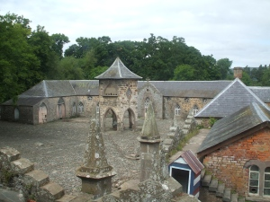 The courtyard of Megginch Castle near Perth