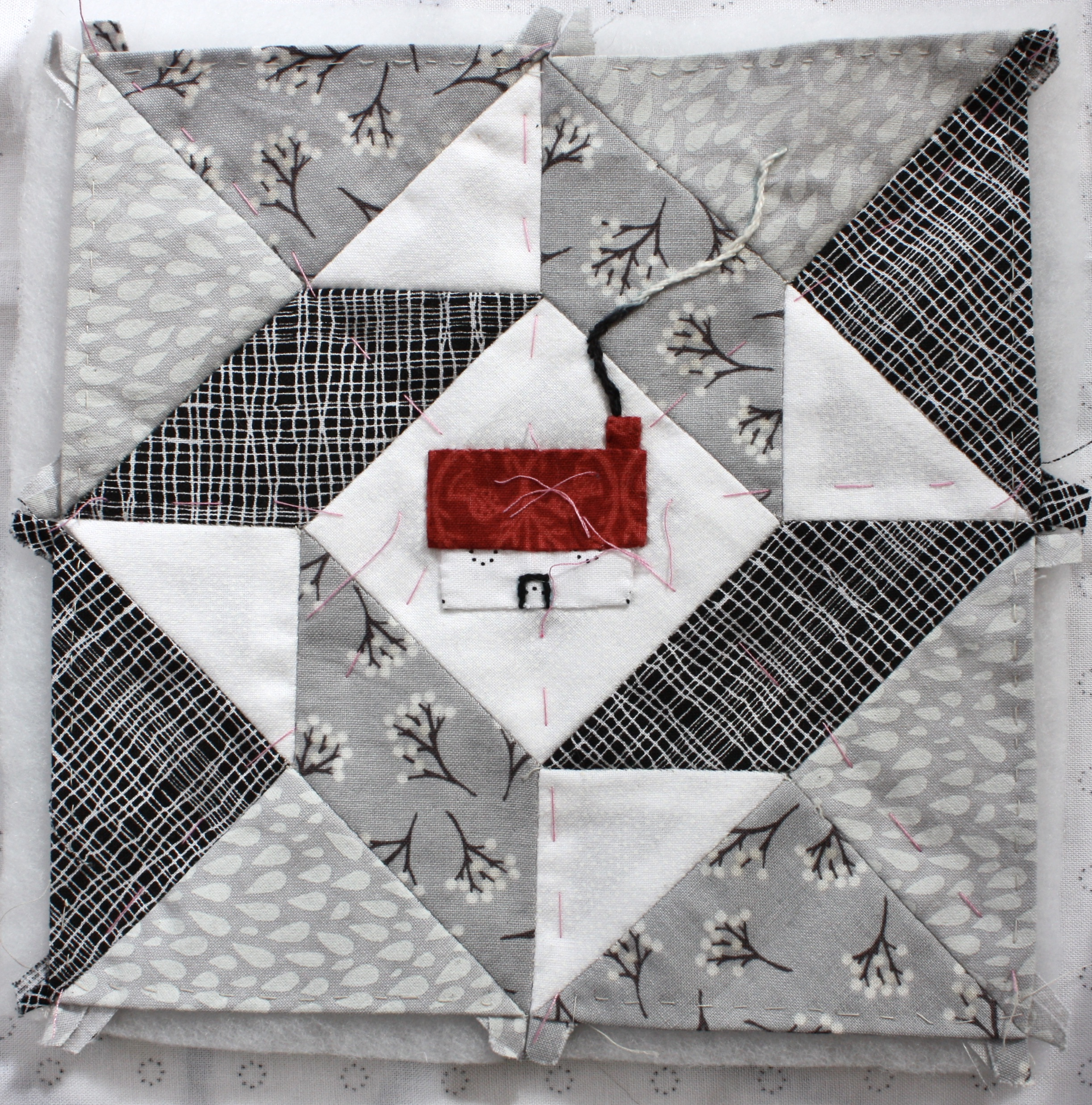 About the Town Stitching Club Embroidery and EPP Mini Quilt Project